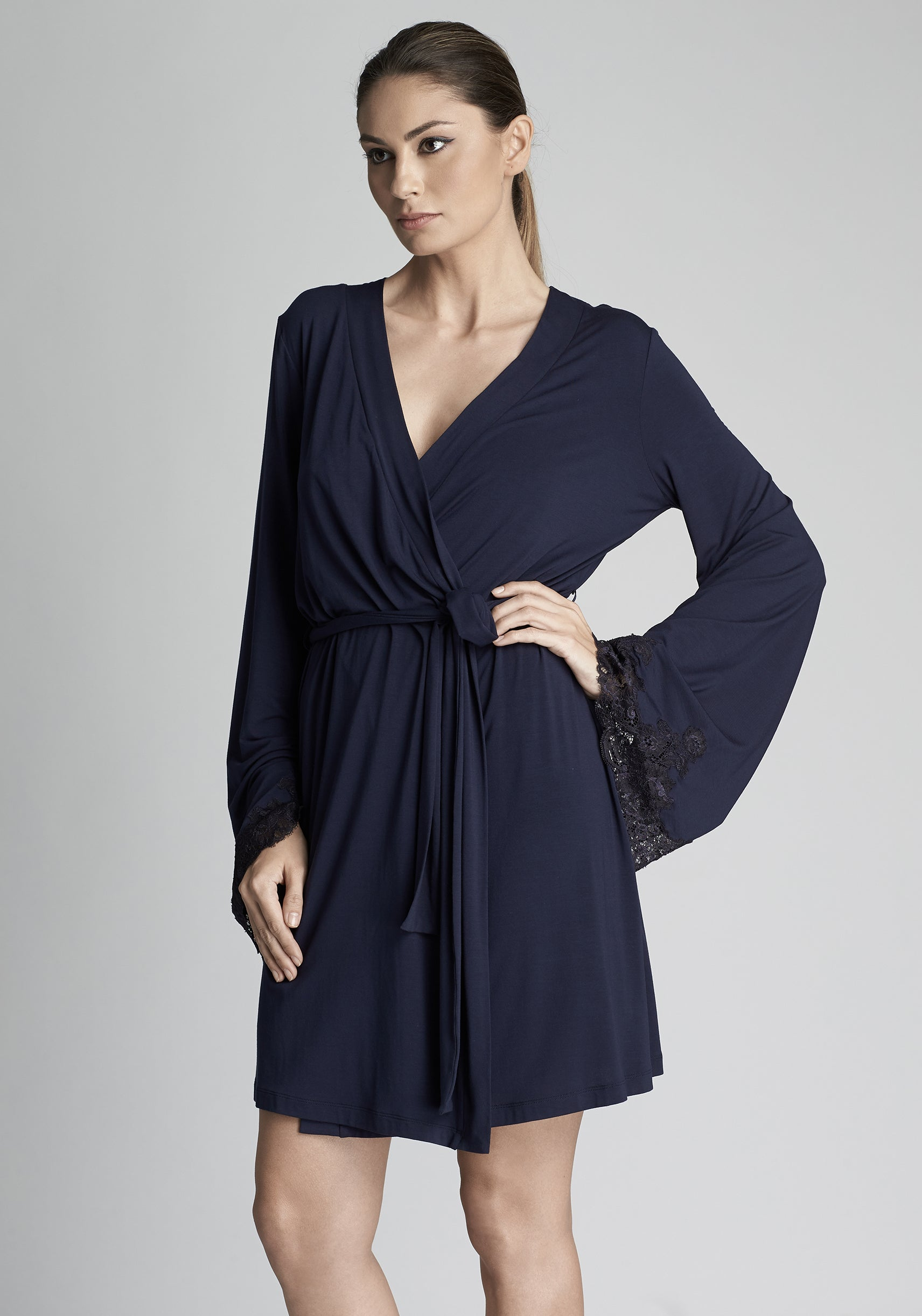 Isolde Mini Robe With Lace Insets in Navy Blue