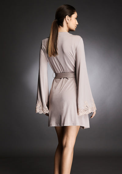 Isolde Mini Robe With Lace Insets in Almond Nude