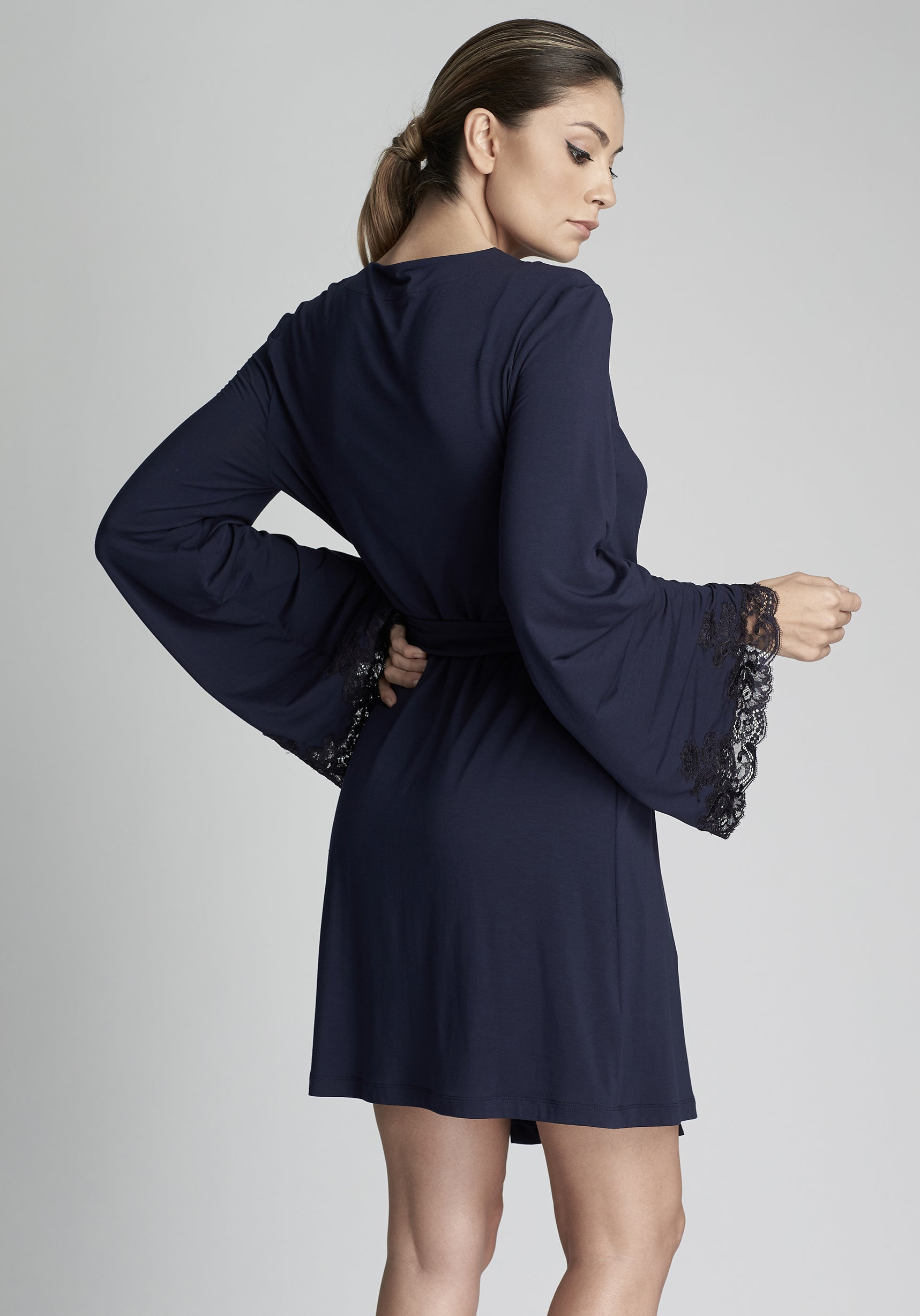 I.D. Sarrieri modal and lace robe in navy