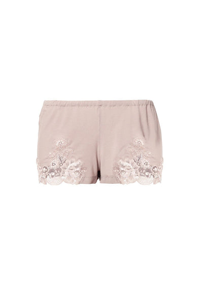 Isolde Short Pants With Lace Insets in Almond Nude