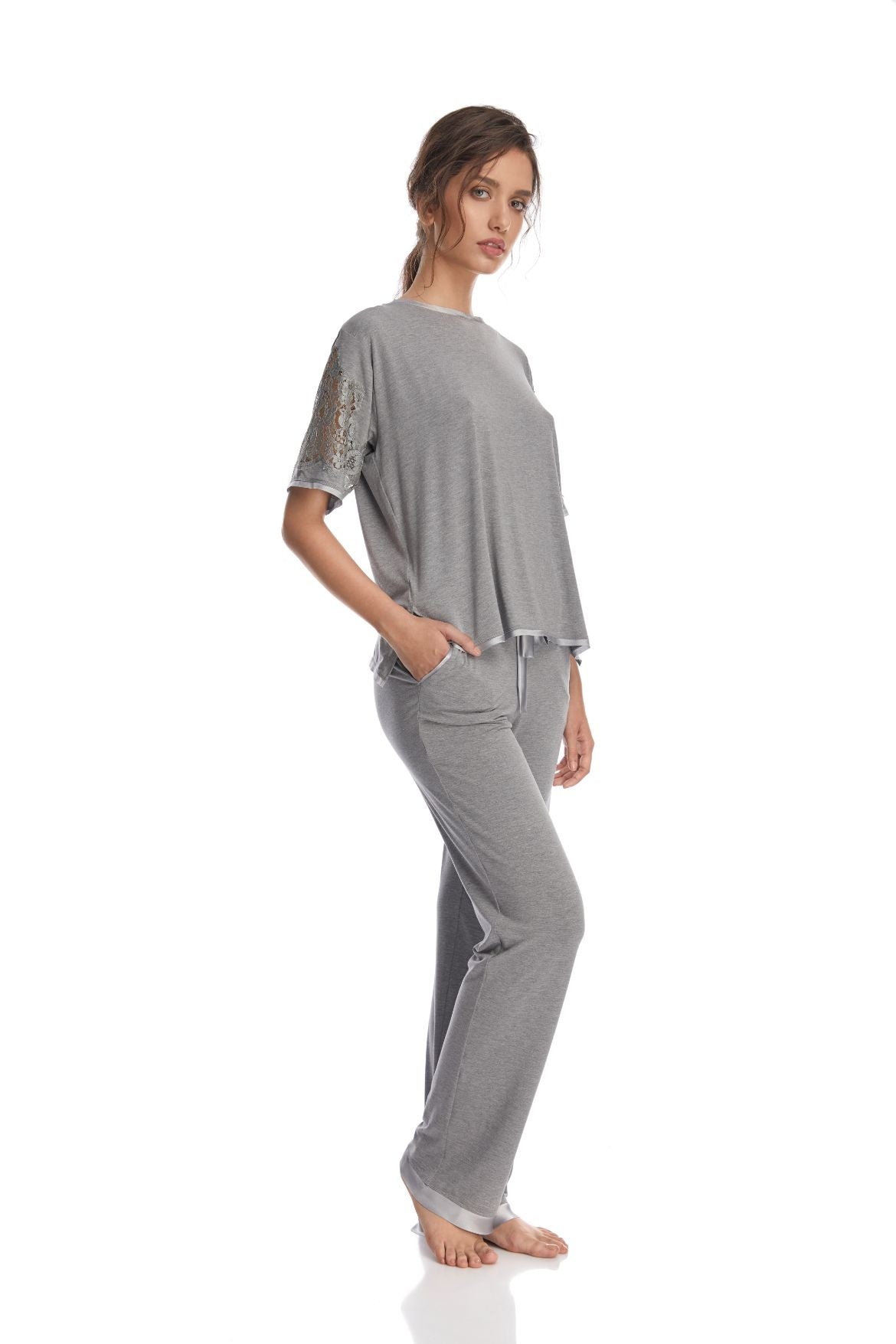 I.D. Sarrieri cotton and lace grey loungewear pants