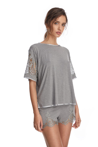 I.D. Sarrieri cotton and lace grey modal short blouse