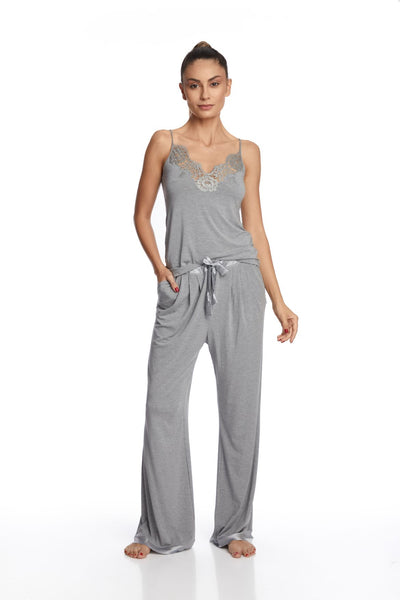 I.D. Sarrieri cotton and lace grey top