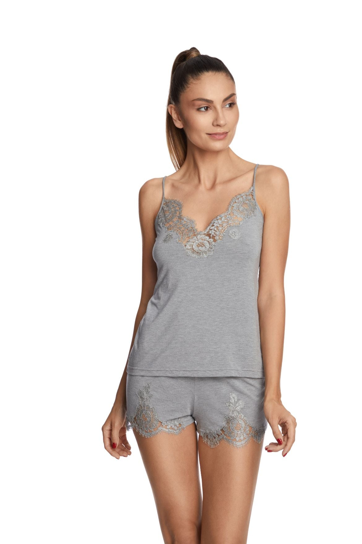I.D. Sarrieri cotton and lace grey shorts