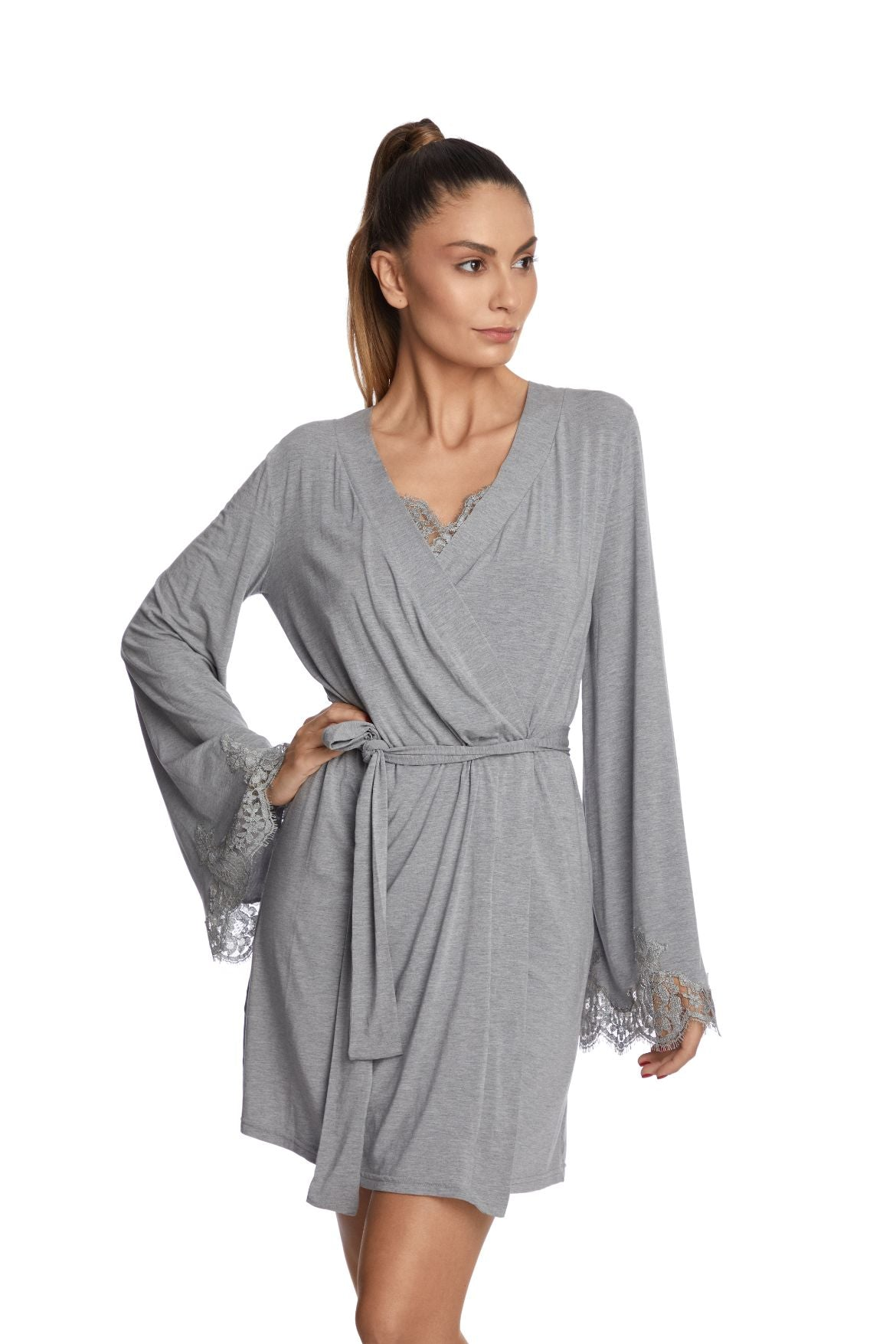 I.D. Sarrieri cotton and lace grey modal short robe