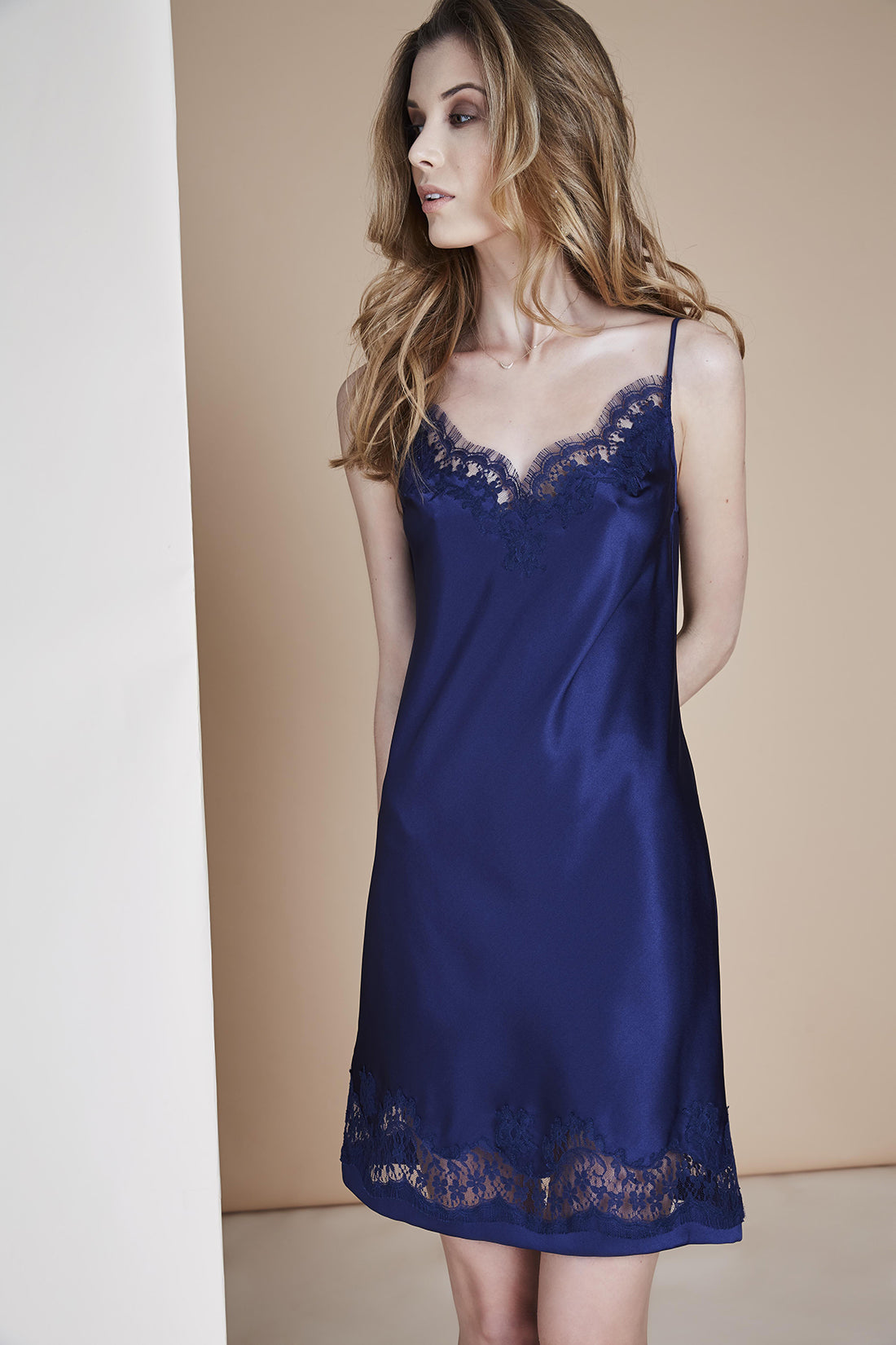 Macaroon Delights Midi Dress in Light Navy