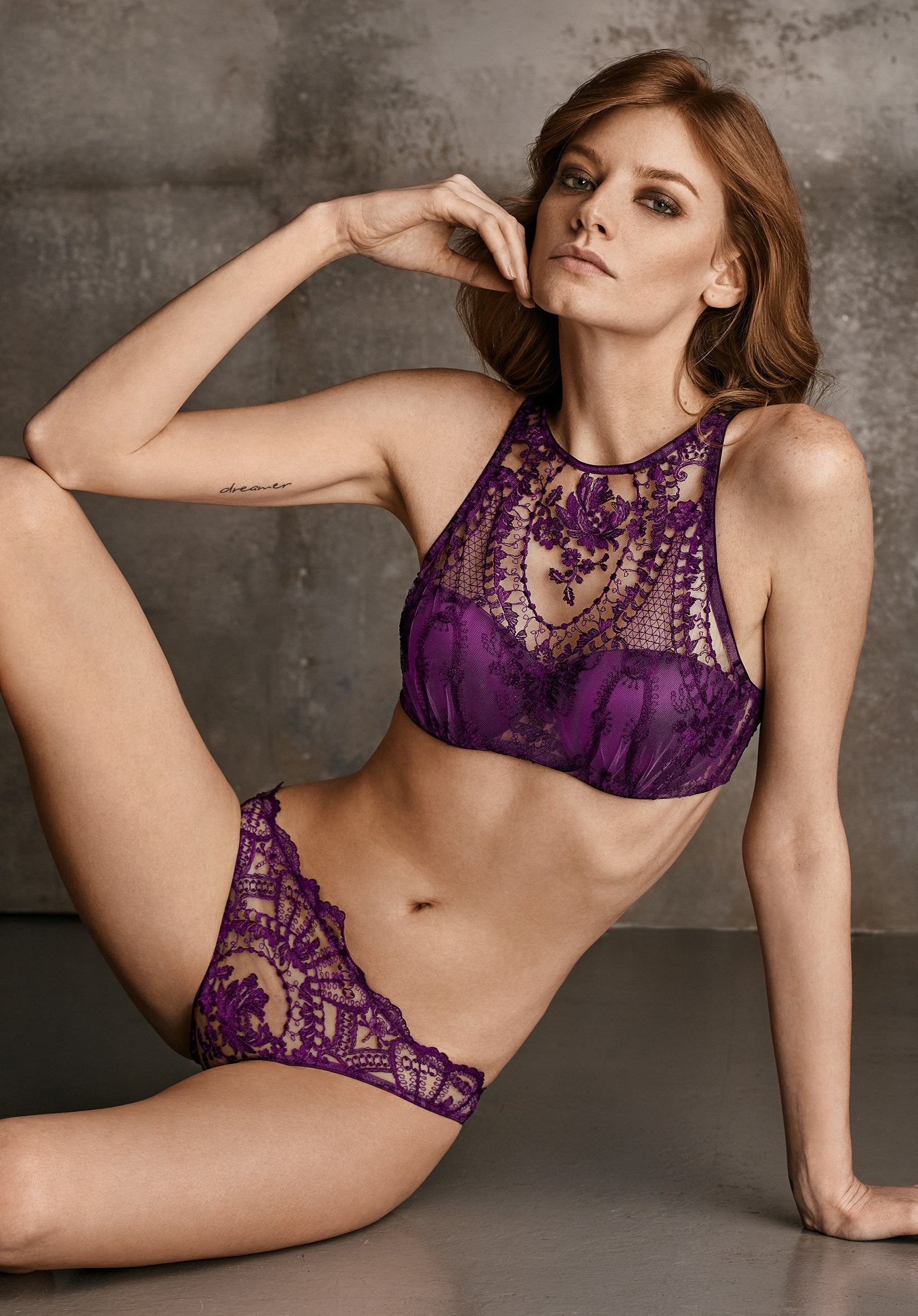 Coup de Foudre High Neck Padded Bra in Violet Sauvage