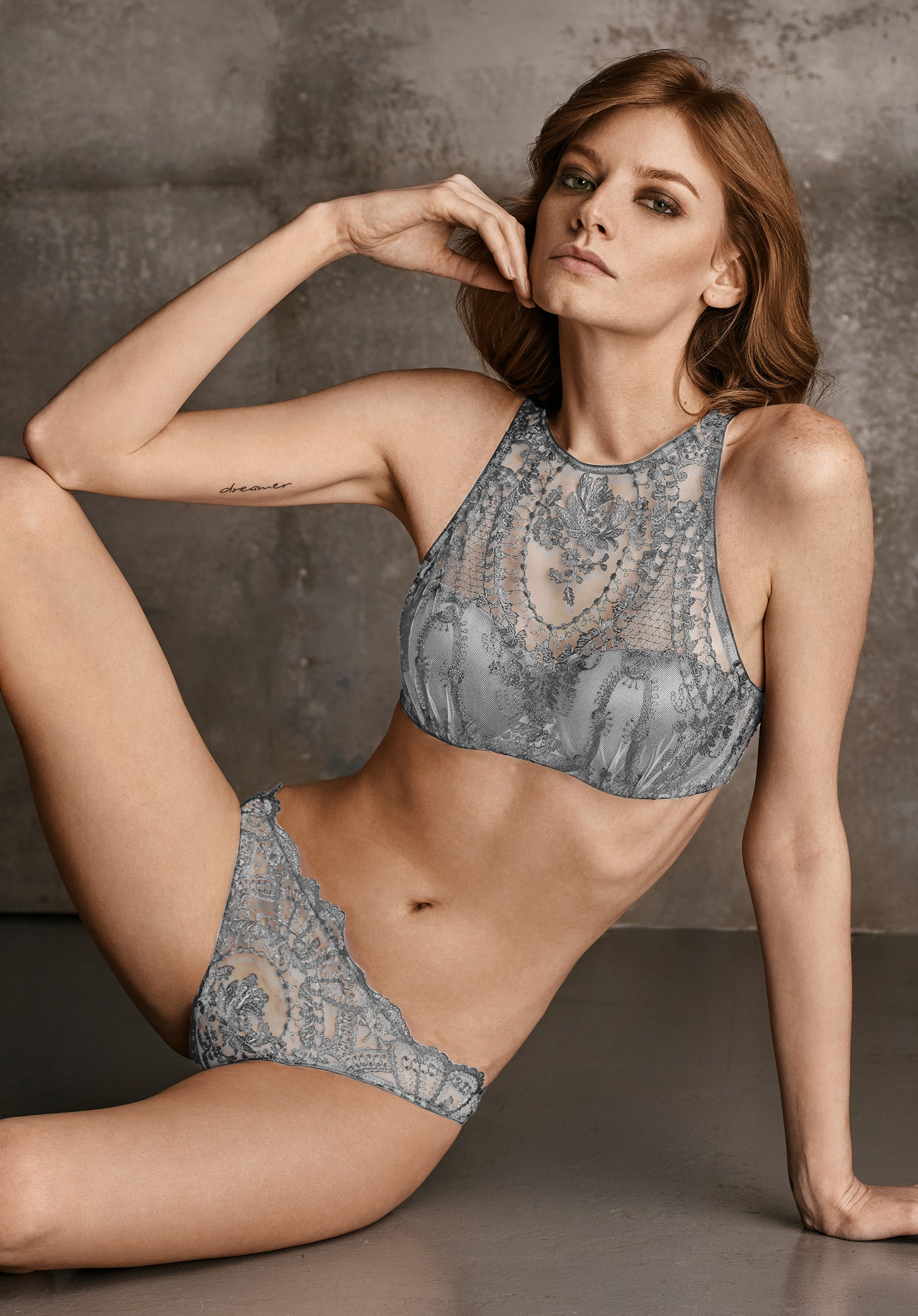 Coup de Foudre High Neck Padded Bra in Silver