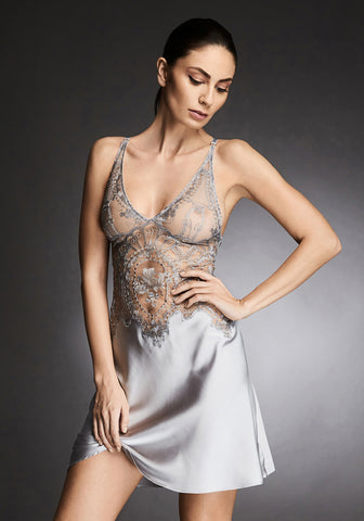 Coup de Foudre Silk and Lace Midi Dress in Silver