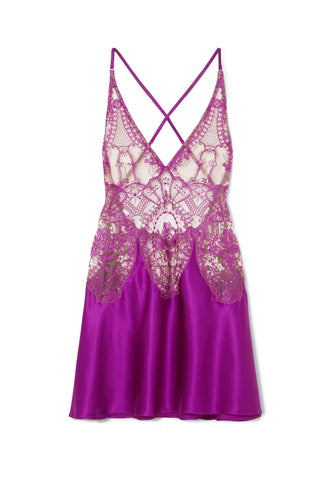 Coup de Foudre Silk and Lace Midi Dress in Violet Sauvage