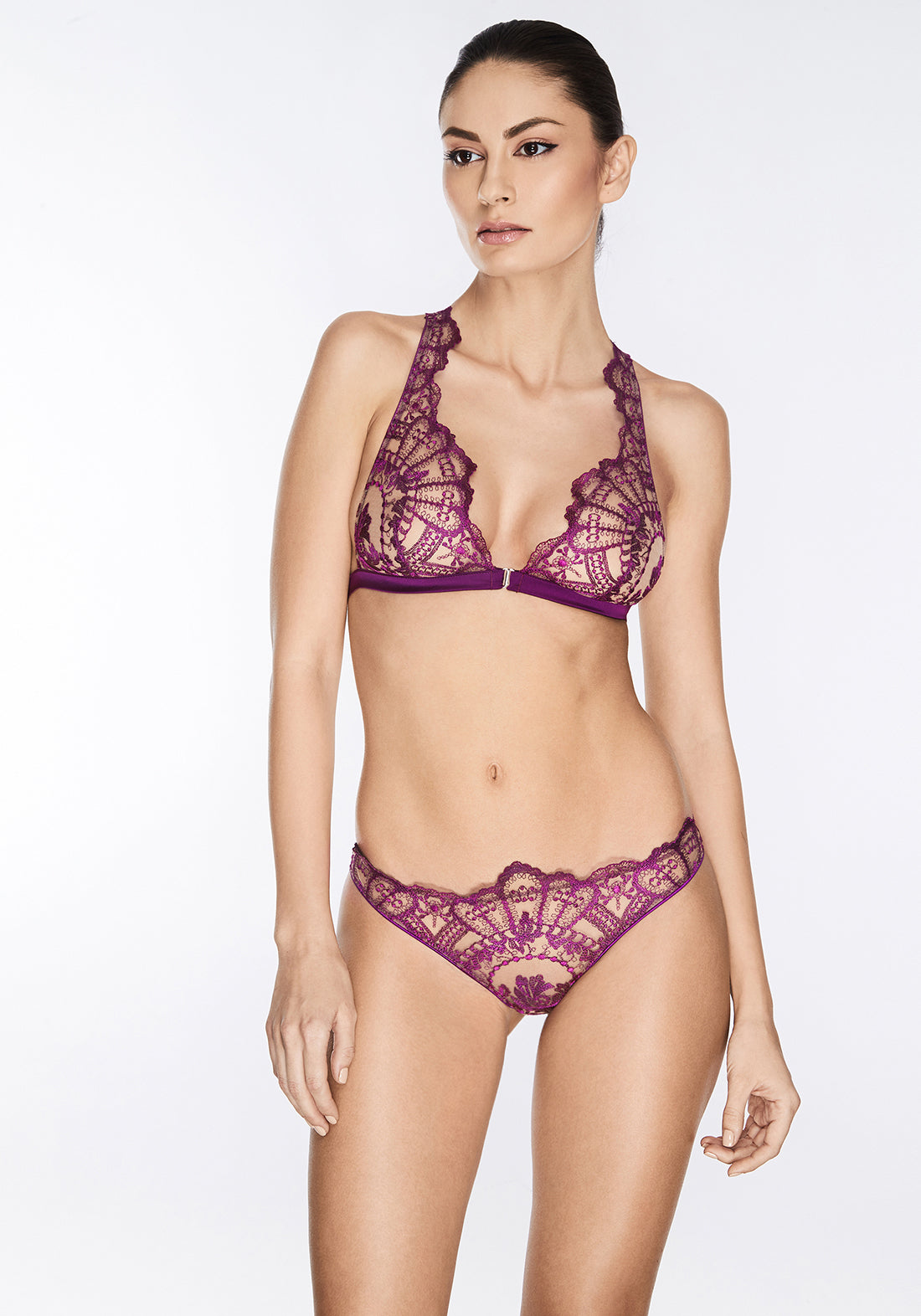 Coup de Foudre Racer Back Triangle Bra in Violet Sauvage