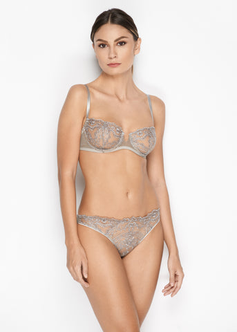 Le Désir Longline Balconette Bra in Metallic Black