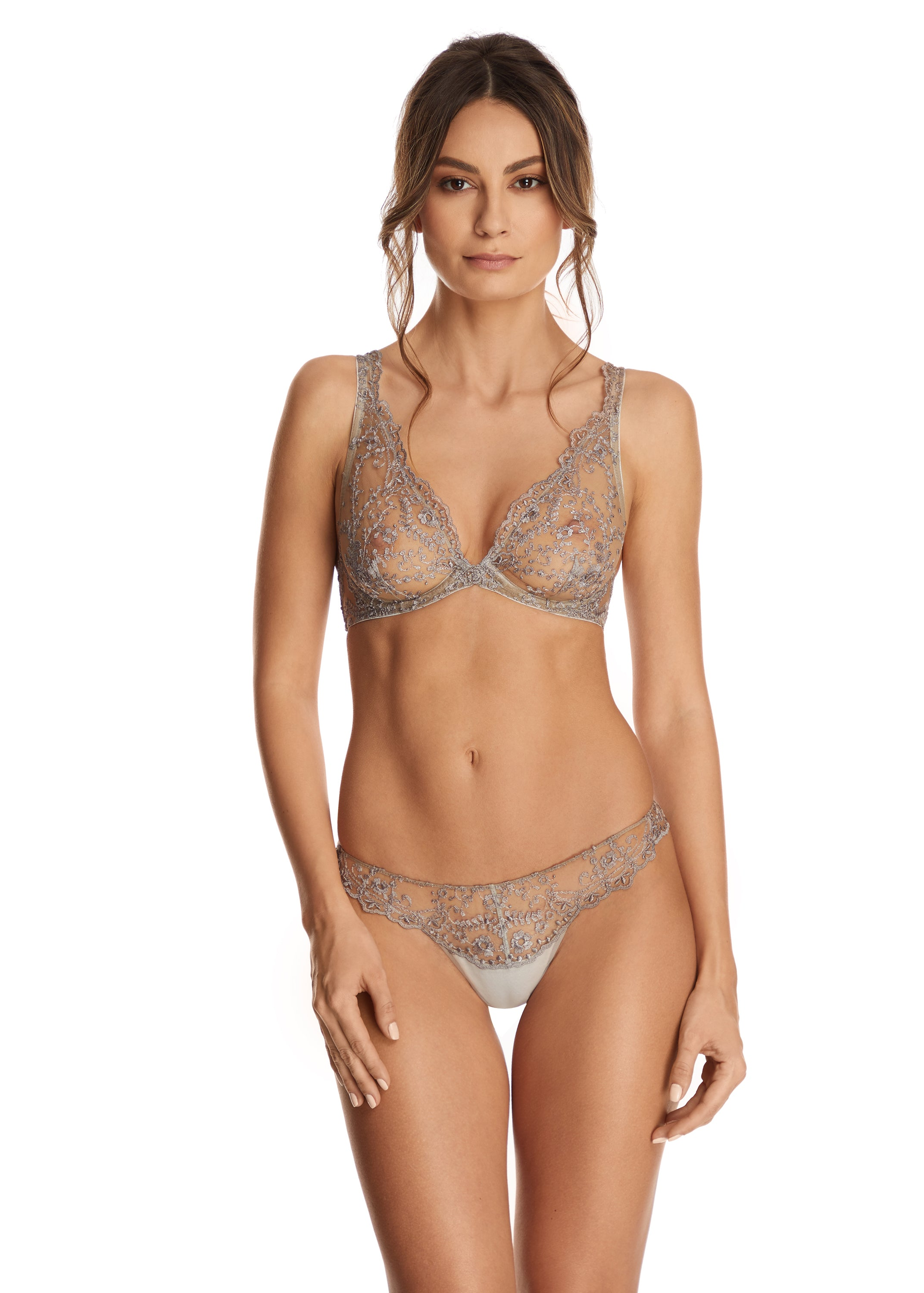 Hollywood Dream Underwired Triangle Bra in Silver