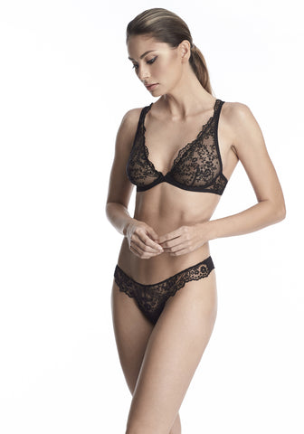 Nuit Interdit String with Swarovski Crystals  in Black