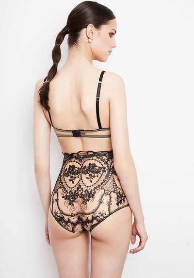 La Naissance d'Aphrodite High Waist Brief in Black/Skin - I.D. Sarrieri