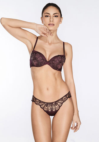 Nuit Interdit Padded Push Up Bra with Swarovski Crystals in Black