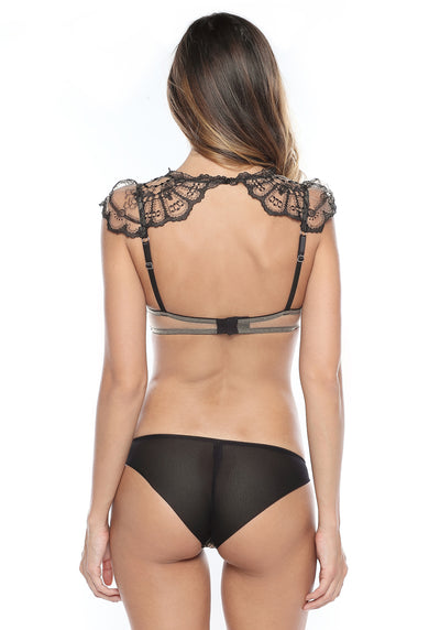 La Naissance d'Aphrodite Low Waist Brazilian Brief in Black/Skin - I.D. Sarrieri