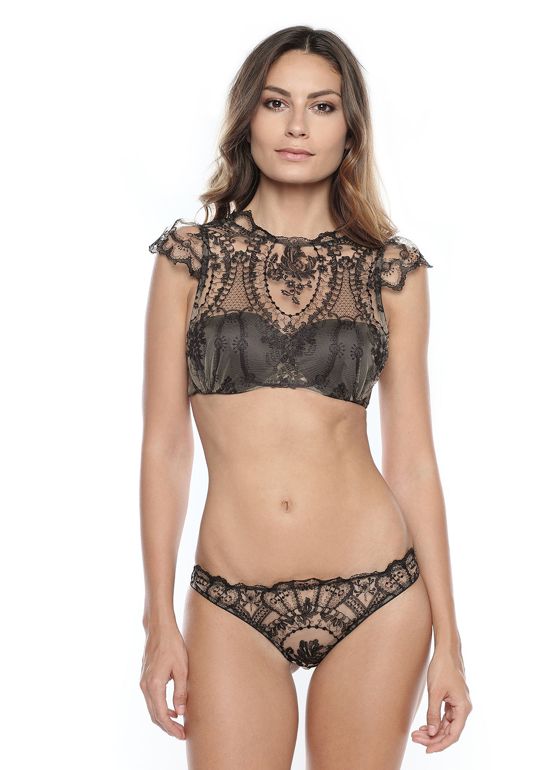 I.D. Sarrieri Lace brief in skin/black