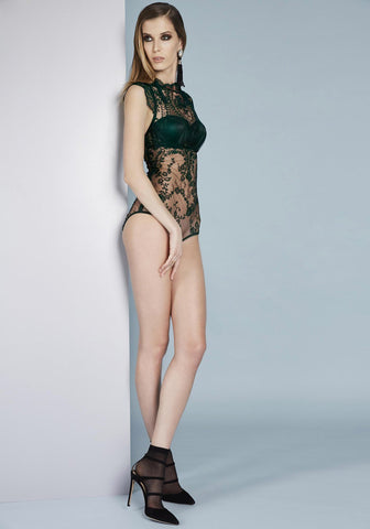La Naissance d'Aphrodite Triangle Cup Bodysuit in Dark Green/Skin