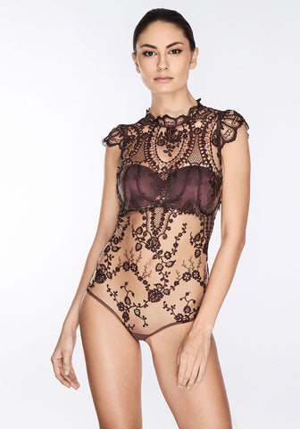 Le Désir Bodysuit in Metallic Black