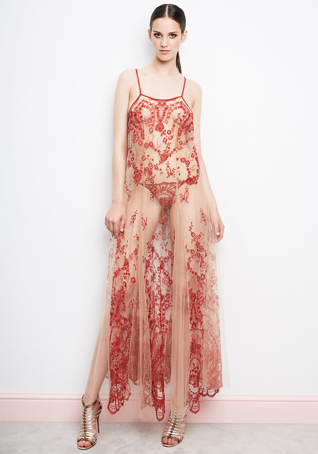 La Naissance d'Aphrodite Slip Dress in Ruby Red