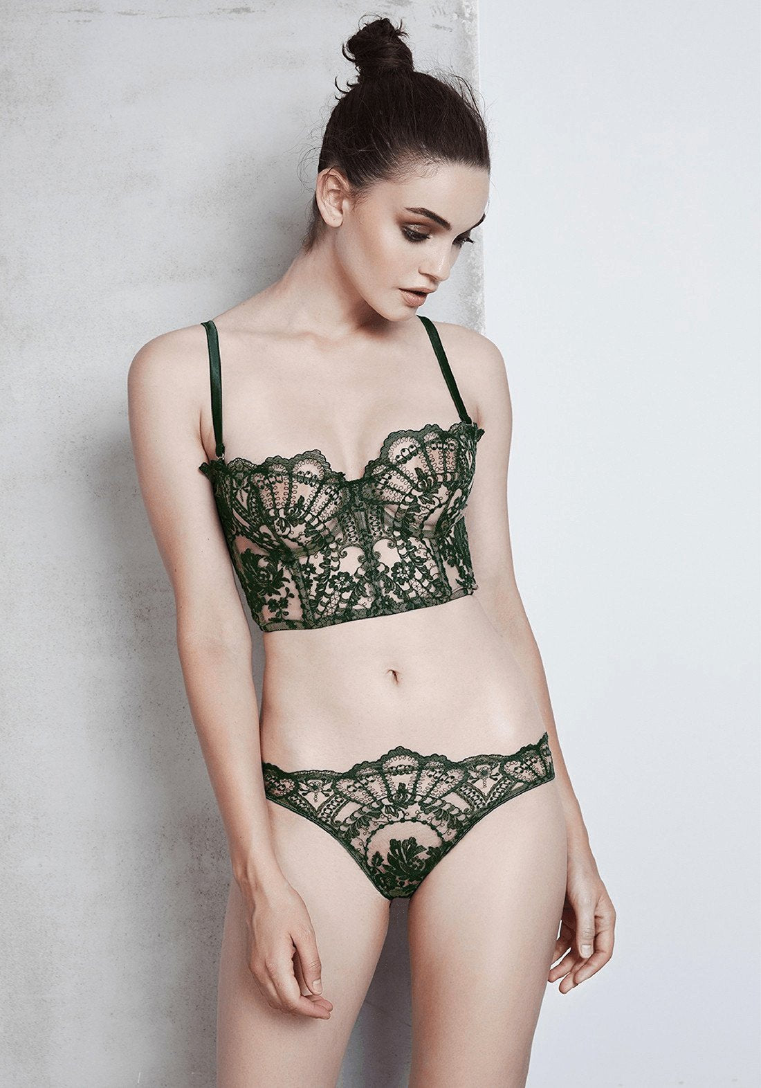 La Naissance d'Aphrodite Half Cup Bustier in Deep Green/Skin