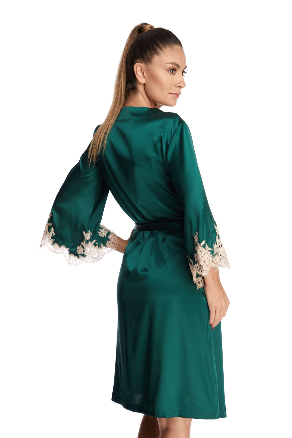 Manhattan Morning Robe in Emerald/Nude - I.D. Sarrieri