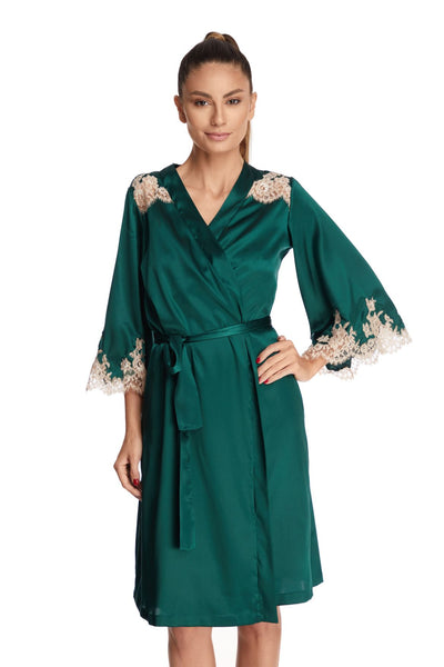 I.D. Sarrieri silk and lace robe in green