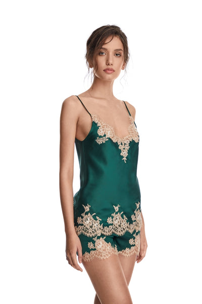 I.D. Sarrieri silk and lace pyjama top in green