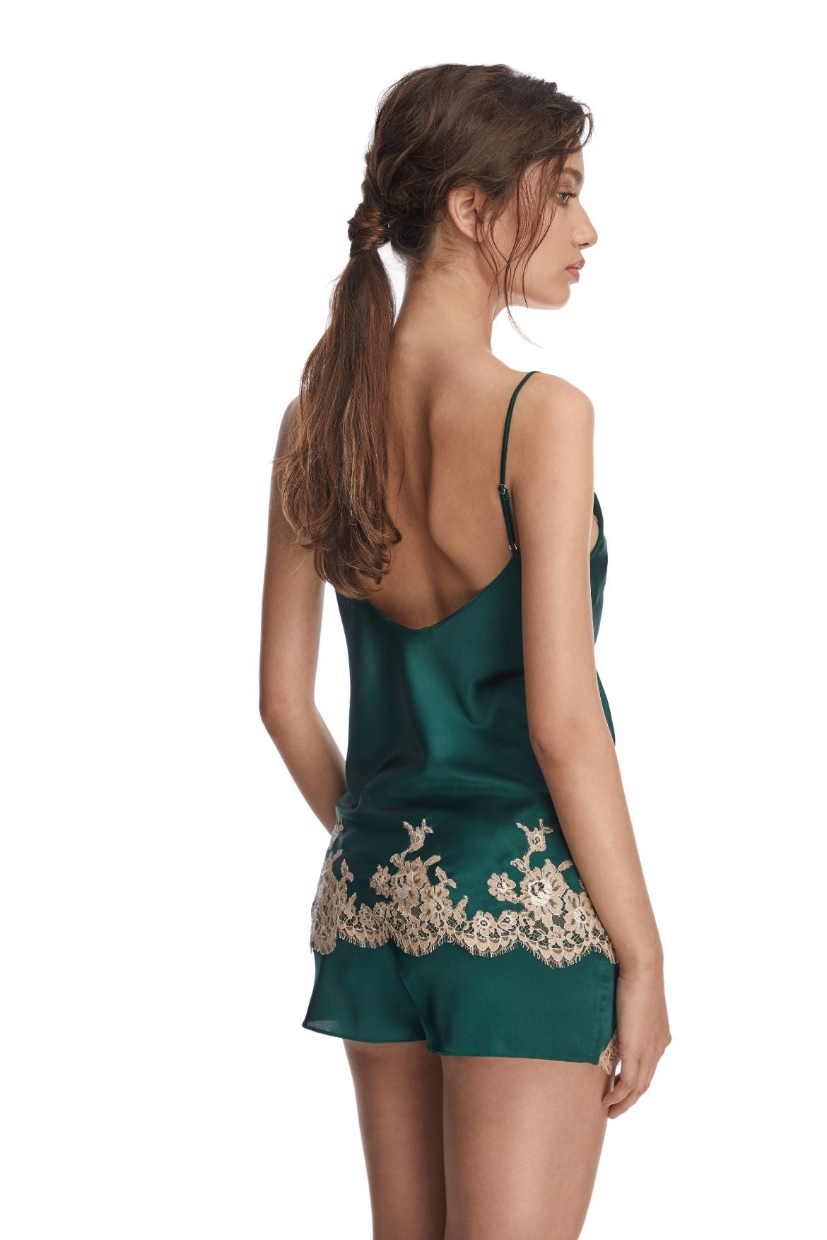 Manhattan Morning Camisole in Emerald/Nude - I.D. Sarrieri