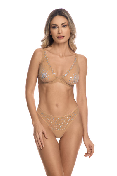 A Starry Night Embellished Thong in Sand - I.D. Sarrieri