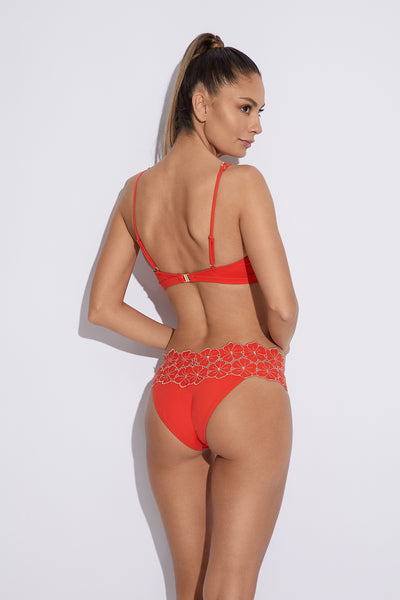 Sunrise in Capri Triangle Bikini Top in Orange/Gold - I.D. Sarrieri