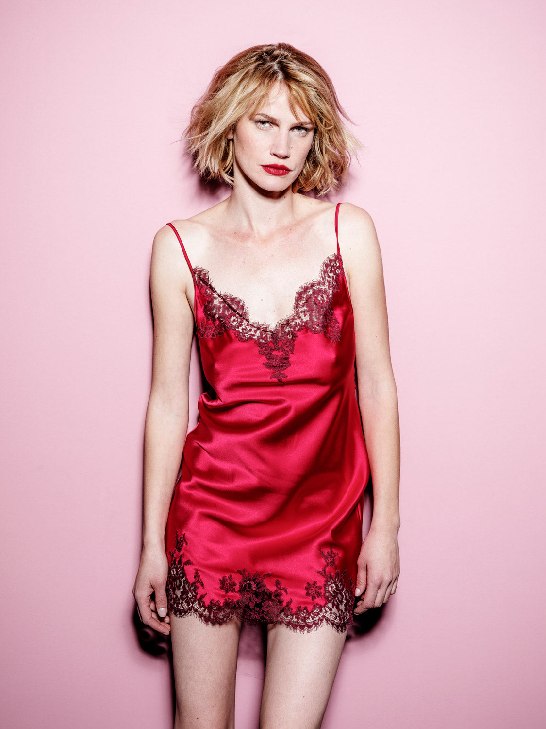 I.D. Sarrieri Silk and lace red camisole