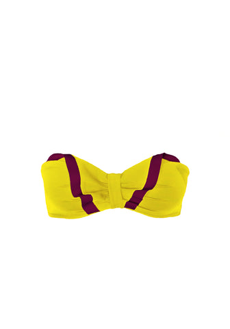 Nuits a Monte Carlo Ruffled Bandeau Bra in Yellow/Purple