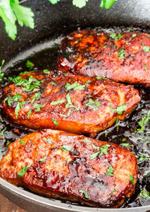 Marinated pork steaks