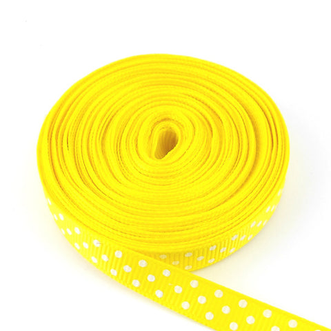 Ruban jaune à pois blancs 10mm