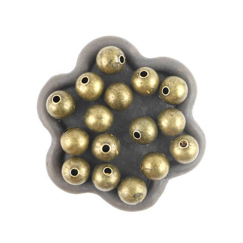 20 Perles 8mm metal bronze ronde