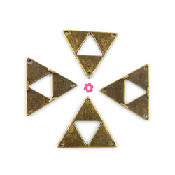 4 Connecteur bronze triangle 30x26mm