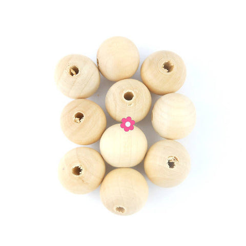 10 Perle bois 20mm ronde