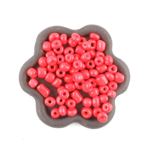 20grs Perles de rocaille orange fluo 4x3mm