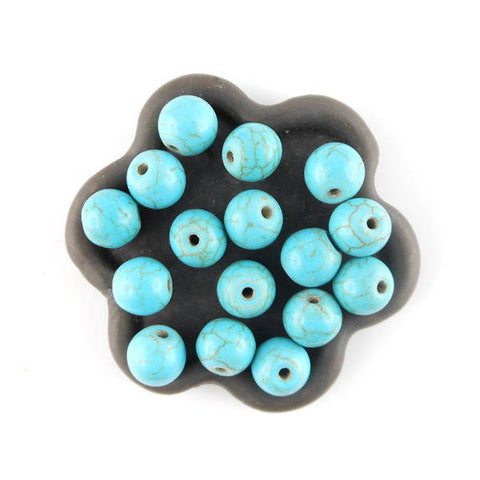 20 Perles rondes  howlite turquoise 8mm