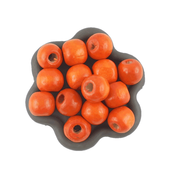 100 Perles en bois rondes orange 10mm