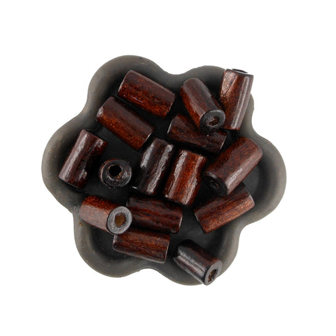 100 Perles en bois tube bois marron 13 x 6 mm