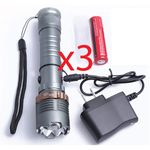 3 of our Self Defense Ultra Bright T6 Flashlight Kits