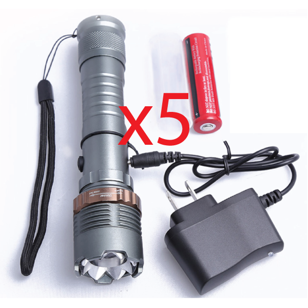 5 of our Self Defense Ultra Bright T6 Flashlight Kits