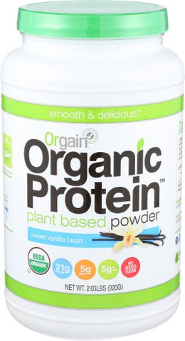 Orgain Organic Plant Based Protein Powder, Sweet Vanilla Bean, 2.03 Pounds
