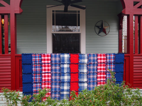 "Americana Rag Quilt, Handmade Cotton Flannel Quilt, Twin Size, 75"" x 92"""