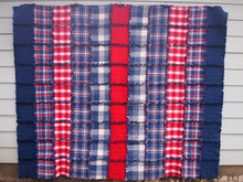 "Americana Rag Quilt, Handmade Cotton Flannel Quilt, Twin or Large Throw Size, 75"" x 92"""