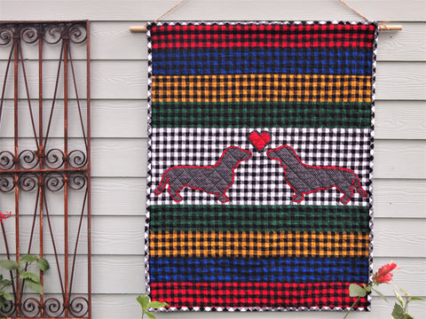 "Dog Applique Baby Quilt, Handmade Cotton Flannel Quilt, Bright Multicolor Check Fabrics, 42"" x 54"""