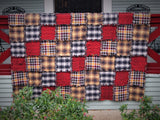 "Fall Color Rag Quilt, Handmade Cotton Flannel Quilt, Throw Size, 58"" x 74"""